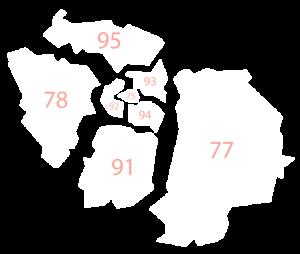 Une carte éclatée de la région Île-de-France avec les numéros inscrits sur chaque département (93-92-94-75-95-78-77-91).