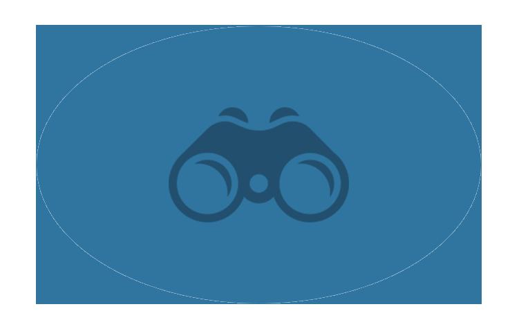 Logo d'une paire de jumelles avec deux reflets sur les verres.