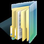 Dessin d'une chemise dossier de couleur bleue transparente où l'on peut y ranger des documents et des feuilles.