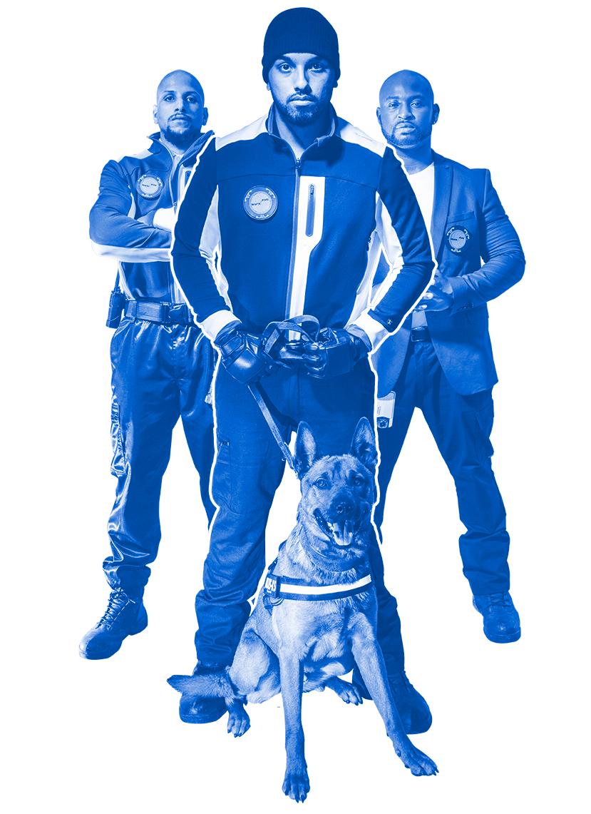 Une équipe de trois agents de sécurité accompagnés d'un chien de race malinois tiennent une position debout, statique et de face et sont munit d'un logo de l'entreprise Secupro.